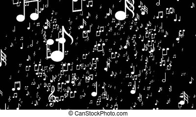 Aanimated background with musical notes. Black background -...
