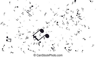 Aanimated background with musical notes. White background -...