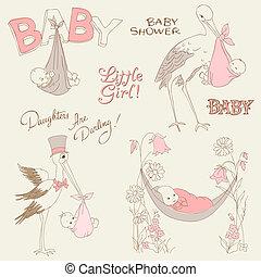 aankomst, douche, set, ouderwetse , -, uitnodiging, baby, communie, ontwerp, plakboek, kaarten, doodles, meisje