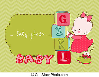 aankomst, fotokader, vector, baby meisje, kaart