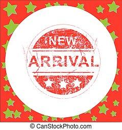 aankomst, grunge, illustratie, postzegel, vrijstaand, rubber, vector, achtergrond, nieuw, cirkel, wit rood