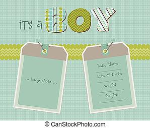 aankomst, jongen, fotokader, vector, baby, kaart