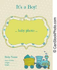 aankomst, jongen, fotokader, -, vector, baby, kaart