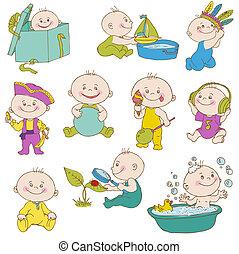 aankomst, jongen, set, doodle, -, ontwerp, douche, baby, vector, plakboek, kaarten, of