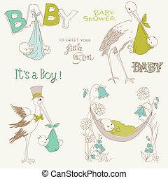 aankomst, jongen, set, douche, ouderwetse , -, uitnodiging, baby, communie, ontwerp, plakboek, kaarten, doodles