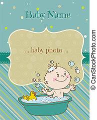 aankomst, jongen, tekst, -, douche, vector, plek, baby, jouw, kaart