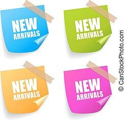 aankomst, nieuw, sticker