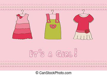 aankomst, -, ontwerp, baby, plakboek, meisje, kaart