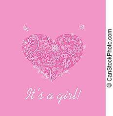 aankomst, roze, aankondiging, bouquetten, baby, kantachtig, meisje, bloemen, kaart