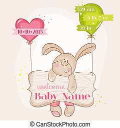 aankomst, schattig, -, vector, baby meisje, konijntje, kaart