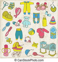 aankomst, set, -, vector, communie, ontwerp, baby, plakboek