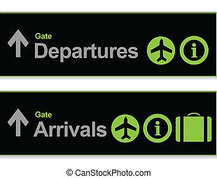 aankomst, signaal, -, luchthaven, vertrek