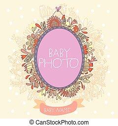 aankomst, tekst, -, vector, plek, foto, baby, jouw, kaart