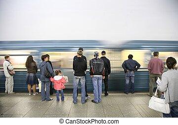 aankomst, van, metro trein