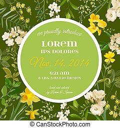 aankomst, zomer, akker, ouderwetse , watercolor, baby, vector, lente, floral, bloemen, style., kaart