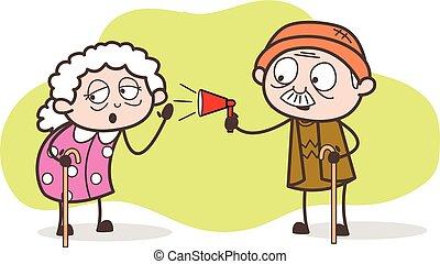 aankondigen, illustratie, vector, opa, het luisteren, oma,...