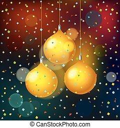 aankondiging, illustratie, vector, achtergrond, confetti., feestje, kerstmis