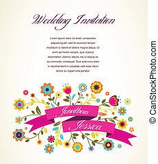 aankondiging, kaart, groet, uitnodiging, trouwfeest, of
