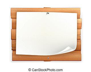 aankondiging, op, wooden board