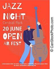 aankondiging, plat, poster, jazz, lucht, fest, nacht, open