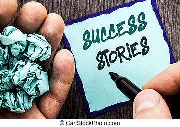 aankondiging, tekst, het tonen, succes, stories., handel concept, voor, succesvolle , inspiratie, prestatie, opleiding, groei, geschreven, op, aantekenboekje, boek, man, schrijvende , holdingspen, houten, achtergrond.