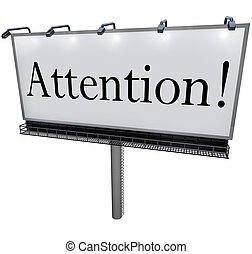 aankondiging, woord, aandacht, dringend, buitenreclame, ...