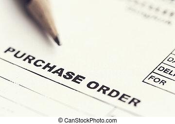 aankoop, blad, order