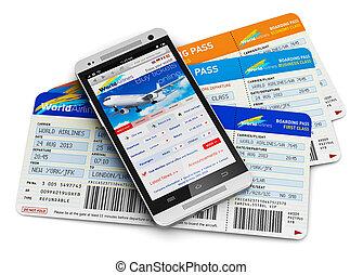 aankoop, lucht, kaartjes, online