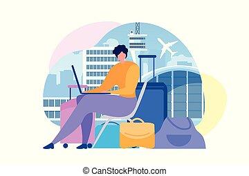 aankoop, luchtlijn plaatskaartjes, online, plat, vector, concept