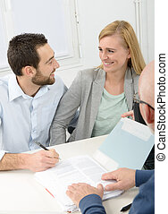 aankoop, ondertekening, paar, jonge, contracteren, eigendom