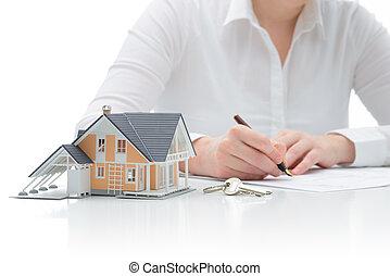 aankoop, overeenkomst, woning