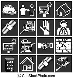 aankoop, set, pictogram, thuis