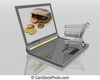 aankoop, shopping-cart, ontvangenis, isolated., draagbare...