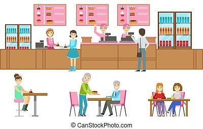 aankoop, vector, illustratie, of, bakkerij, toetjes, kies, mensen, portie, winkel, banketbakkerij, mannelijke , koffiehuis, verkoper, klanten