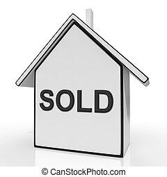 aankoop, woning, sold, thuis, eigendom, of, optredens