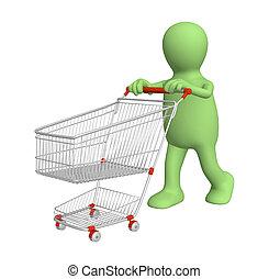 aankopen, gaan, marionet, 3d