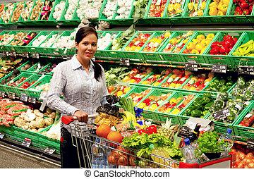 aankopen, van, fruit, groentes, in, de, supermarkt