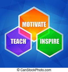 aanleren, inspireren, motiveren, in, zeshoeken, plat, ontwerp