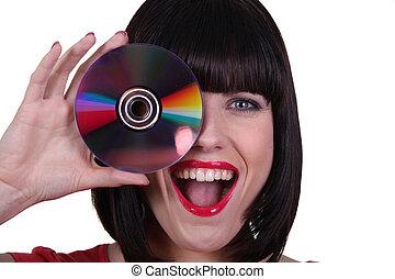 aanlokkelijk, brunette, met, cd