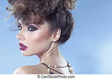 aanlokkelijk, dame, met, mooi, sensueel, lippen