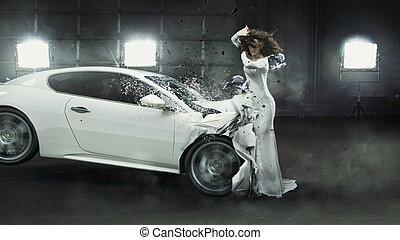 aanlokkelijk, modieus, dame, ertussen, van, botsing auto