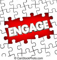 aannemen, woord, raadsel, illustratie, stukken, oplossen, betrokkenheid, probleem, deelname, 3d