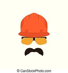aannemer, bouwsector, helmet., bril, gezicht