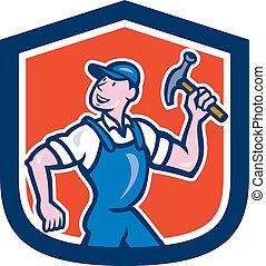 aannemer, hamer, timmerman, vasthouden, spotprent