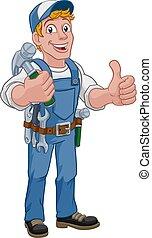 aannemer, handyman, timmerman, doe het zelf, hamer, spotprent, man