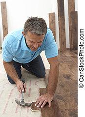 aannemer, het leggen, wooden flooring