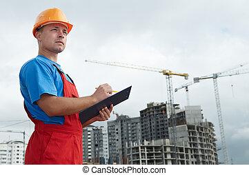 aannemer, inspecteur, op, bouwsector, gebied