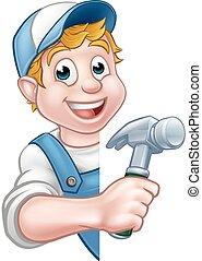 aannemer, of, timmerman, handyman, de arbeider van de bouw