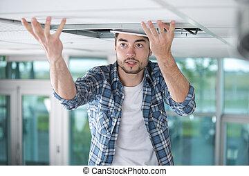 aannemer, ter vervanging, plafond, paneel