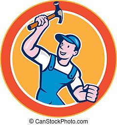 aannemer, timmerman, vasthouden, cirkel, hamer, spotprent